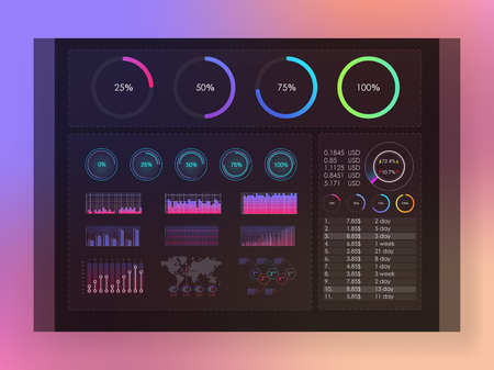Interface screen with colored infographic digital illustration. Colored infographic digital illustration. Dashboard theme creative infographic