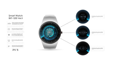 Vector realistic illustration of concept smart watch, technology functions and template text. Smart watch vector illustration.