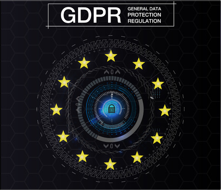 GDPR-GENERAL DATA PROTECTION REGULATION. Cyber security and privacy. Vector illustration. Future style.