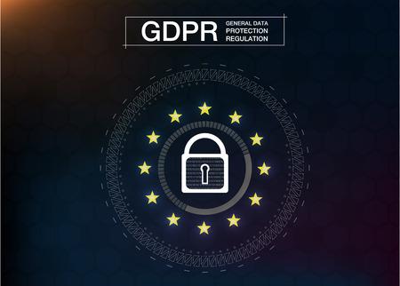DSGVO-ALLGEMEINE DATENSCHUTZVERORDNUNG. Cyber-Sicherheit und Datenschutz. Vektor-Illustration. Zukünftiger Stil.