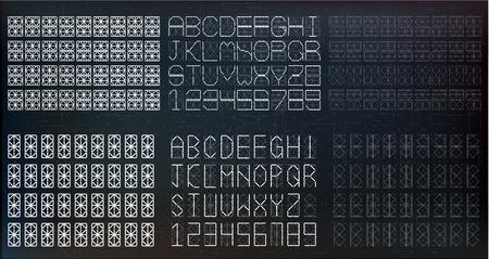 Segment font. A futuristic design. Vector illustration. Set of white digital numbers