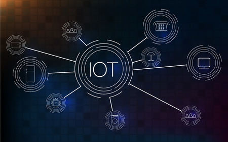 Internet of things (IOT), cloud at center, devices and connectivity concepts on a network.
