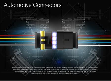 Ilustración de un conector automotriz. Puede utilizarse como publicidad. Experiencia técnica . Todos los elementos de la imagen están agrupados.