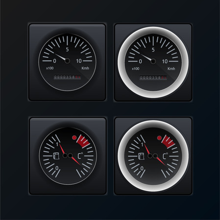Automotive or aviation instrument panel instruments, on a dark background.The images of the devices are grouped. Analog devices. Vector image. Stock Illustratie