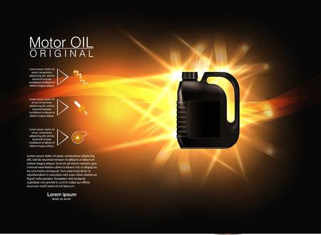 Bottle engine oil on a background a motor-car piston, Technical illustrations. canister ads template with brand Blueprints. Vektorové ilustrace