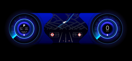 Automotive dashboard of the future. Hybrid car. Diagnostics and elimination of breakdowns. Blue. HUD style. Vector image. Illustration