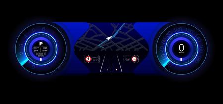 Tablero automotriz del futuro. Auto Hibrido. Diagnóstico y eliminación de averías. Azul. Estilo HUD. Imagen vectorial.