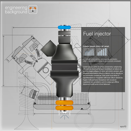 Fuel injector. Vector illustration.