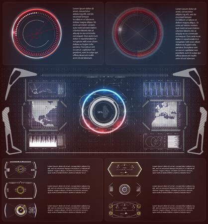 élément futuriste Hud. Ensemble de cercle abstrait technologie numérique UI futuriste HUD éléments d'interface virtuelle Sci-Fi utilisateur moderne pour le mouvement graphique Vecteurs