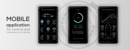 Mobile app cars infographic template with modern design weekly and annual statistics graphs. Cars statistic, web design, UI elements. Vector EPS 10