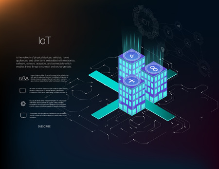 Smart city or intelligent building isometric vector concept. Management system or BAS thematical background. IoT platform future technology. Building automation with computer networking illustration. Ilustração