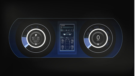 Car HUD Dashboard. Abstract virtual graphic touch user interface. Futuristic user interface HUD and Infographic elements.