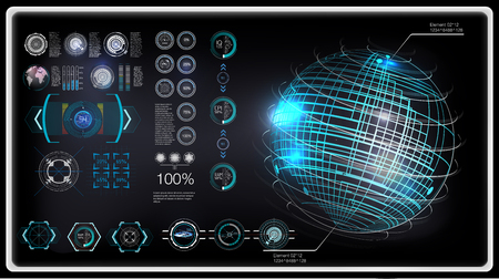 HUD set. Technology elements for (business, medicine, forex, finance, analytics) Statistic and data, sci infographic. Template Head-up display for app in HUD style. Vector illustration sky fi Ui pack Ilustrace