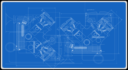 Vector background of the car engine and its components can be used as a technical background for illustration.