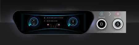 Template-sample car dashboard and the principle of switching modes selector automatic transmission. Black style. The style of the future. Vector image. Ilustrace
