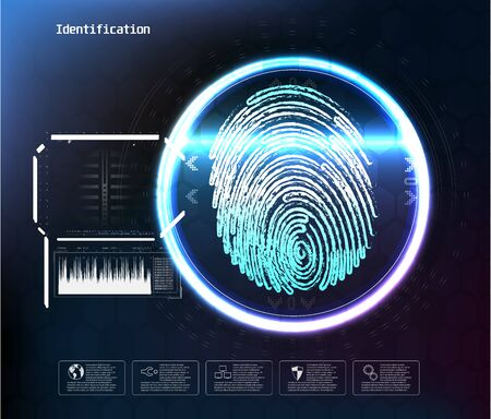 Face digital recognition, id faces biometric scanning to safe access abstract vector futuristic background. Scan face digital, recognition verification and identification illustration