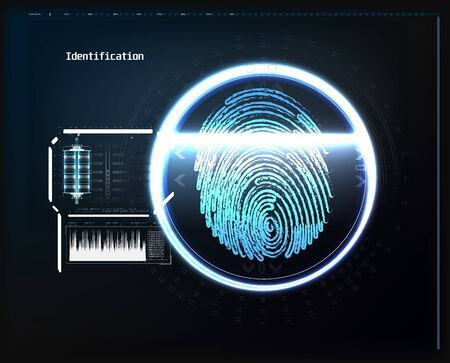 Fingerprint scanning on circuit board vector illustration. Abstract technology background. Cyber security concept.
