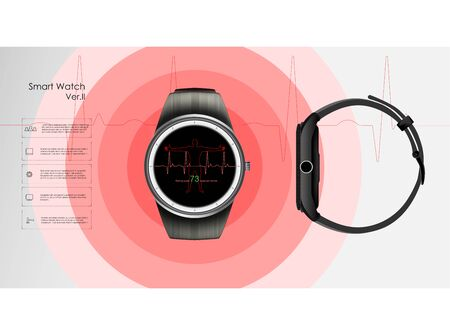 Smart watch with pulse measurement, control of health and training, vector illustration. Fitness tracker and health control. Ilustrace