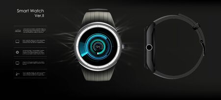 Vector realistic illustration of smart watch, technology functions and template text. Smart watch vector illustration.