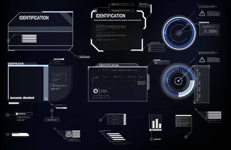 Elementos de interfaz HUD, UI, GUI. Conjunto de títulos de llamada de vector. Etiquetas de barra de llamadas futuristas, barras de cuadro de llamada de información y modernas plantillas de diseño de cuadros de información digital Títulos de rótulos en estilo HUD. Ilustración de vector