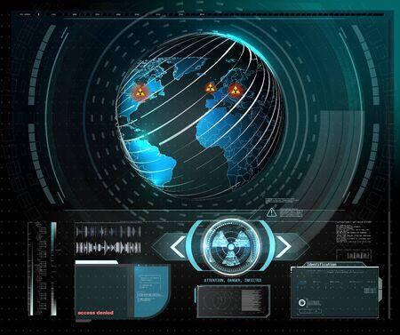 Marco de advertencia. Diseño de tecnología abstracta Marco futurista azul y rojo en el fondo moderno de estilo de radiación de HUD. Fondo abstracto del concepto de la innovación del diseño de la comunicación de la tecnología. Diseño gráfico abstracto del vector.