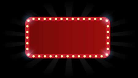 Vector empty frames, landmarks, cloud symbol, ribbon. Theater marquee isolated on white background. Vektorové ilustrace