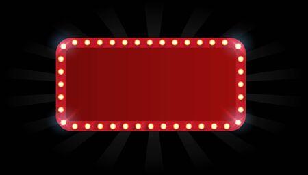 Vector marcos vacíos, puntos de referencia, símbolo de nube, cinta. Marquesina de teatro aislado sobre fondo blanco. Ilustración de vector