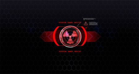 Radiation sign on beautiful background, hud style in red tones. Futuristic Technology HUD Screen. Tactical View Sci-Fi