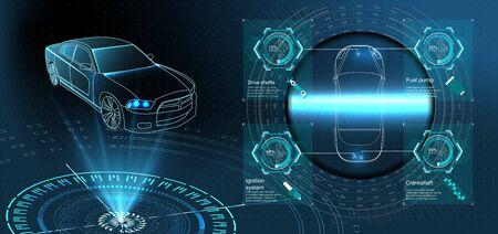 Futuristischer Autoservice, Scannen und Autodatenanalyse. Intelligentes Autobanner. Futuristisches isometrisches intelligentes Auto und Symbole mit Maschinenvorteilen. Vektor-Illustration Vektorgrafik