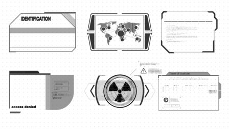 Virtual graphic. Infographic vector elements. Digital dashboard panel illustration Interface elements HUD, UI, GUI. Vector Callout Titles set. Futuristic callout bar labels, information call box.  イラスト・ベクター素材