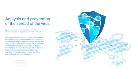 Abstract hexagonal micro molecule structure on blue background Shield with protecting from bacteria, virus, microbes. Coronavirus 2019-nCov novel coronavirus concept. Vector web banner