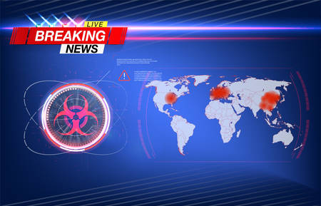 Map of the spread of the virus in the world, the coronavirus epidemic in China, a map of the spread and infection in the world. Biohazard sign, on an abstract background.