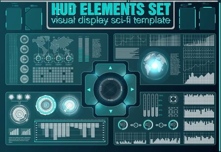 Futuristic Vector HUD Interface Screen Design. Digital callouts titles. HUD UI GUI futuristic user interface screen elements set. High tech screen for video game. Sci-fi concept design.