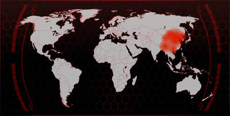 Map of the spread of the virus in the world, the coronavirus epidemic in China, a map of the spread and infection in the world. Illusztráció