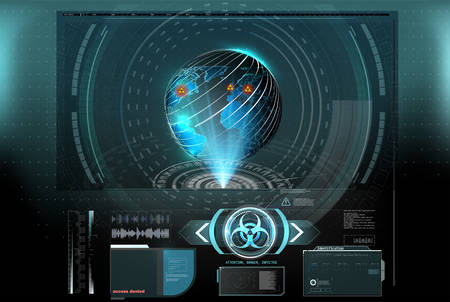 Map of the spread of the virus in the world, the coronavirus epidemic in China, a map of the spread and infection in the world. Warning frame. Abstract tech design Blue futuristic frame in HUD style Illusztráció