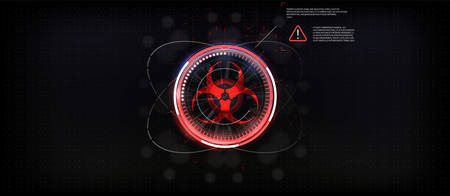 Biohazard sign, on an abstract background. Labels attention danger, virus epidemic. a map of the spread and infection in the world.