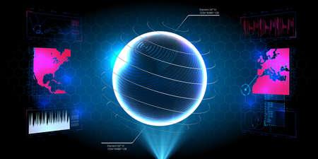 HUD UI GUI futuristic user interface screen elements set. High tech screen for video game. Sci-fi concept design. Square Frames Blocks Set HUD Interface Elements. Futuristic warning frame Illusztráció