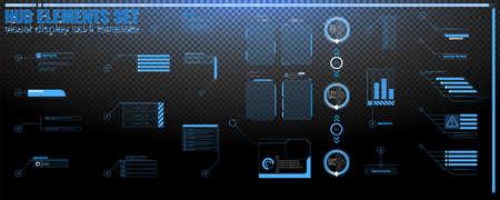 Futuristic Vector HUD Interface Screen Design. Digital callouts titles. HUD UI GUI futuristic user interface elements set. High tech screen for video game. Sci-fi concept design transparent background