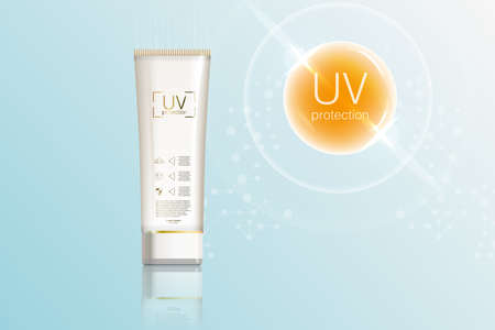 Protection UV and Whitening Cream Skin care concept Sunblock ads template, sun protection cosmetic products design with moisturizer cream or liquid. Stock fotó