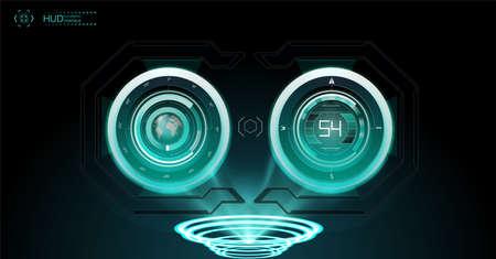 Virtual reality. Futuristic VR head-up display design. Sci-Fi helmet HUD, GUI, UI. Futuristic display with data, speedometer and statistics panel. Cockpit of futuristic autonomous car. High tech screen