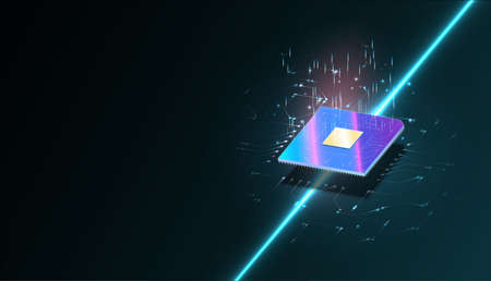 Quantum computer, large data processing, database concept.CPU isometric banner. Central Computer Processors CPU concept.Digital chip Futuristic microchip processor with lights on the blue background. Illusztráció