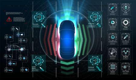 Big Set Icon. Driverless car. Self driving vehicle. Future concepts smart auto. HUD, GUI, hologram Automatic braking system avoid car crash from car accident. Concept for driver assistance systems. Illusztráció