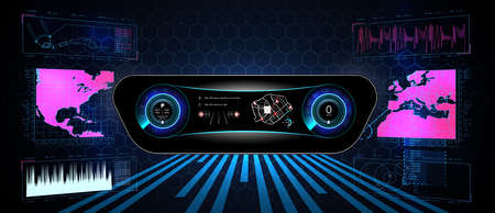 Virtual graphical interface Ui HUD Autoscann. Futuristic user interface. HUD UI. Abstract virtual graphic touch user interface. Car service in the style of HUD. Illusztráció