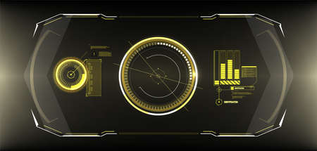 Futuristic circle interface screen design. Abstract style on blue background. Abstract vector background. Future Technology. HUD, GUI, UI user interface Cyber technology Futuristic for Virtual Reality