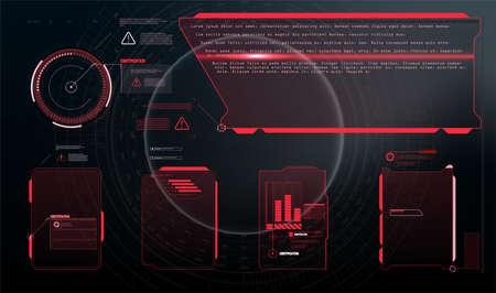 Futuristic screens HUD, GUI, UI and set titles (warning, danger