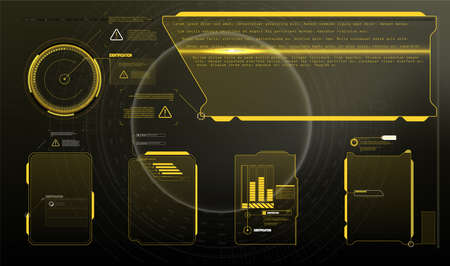 Information box bars and modern digital info frame layout templates. Good for game UI / UX. Vector Illustration A set of modern frames, callouts for user menu interface elements in futuristic HUD style. Illusztráció