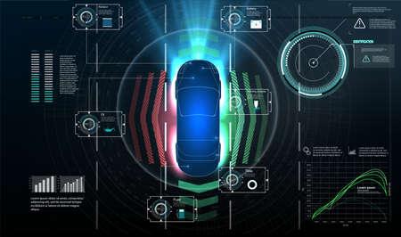 Autonomous car. Driverless car. Self driving vehicle. Future concepts smart auto. HUD, GUI, hologram Automatic braking system avoid car crash from car accident. Concept for driver assistance systems. Illusztráció