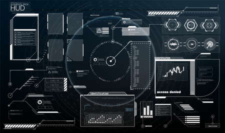 set Interface elements HUD, UI, GUI. Vector Callout Titles set. Futuristic callout bar labels, information call box bars and modern digital info boxes layout templates. Callouts titles in HUD style.