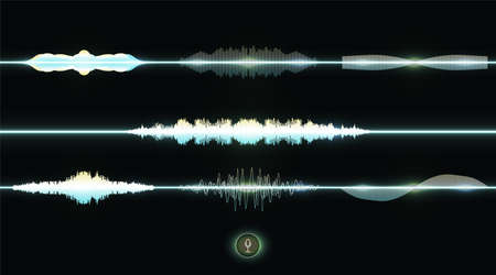 Sound waves vector illustration design template Vector sound waves set. Audio Player. Audio equalizer technology, pulse musical. Vector illustration Vector sound waves set. Audio technology equalizer Illusztráció