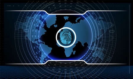 Fingerprint scan logo, privacy, cyber security, identity information and network protection.